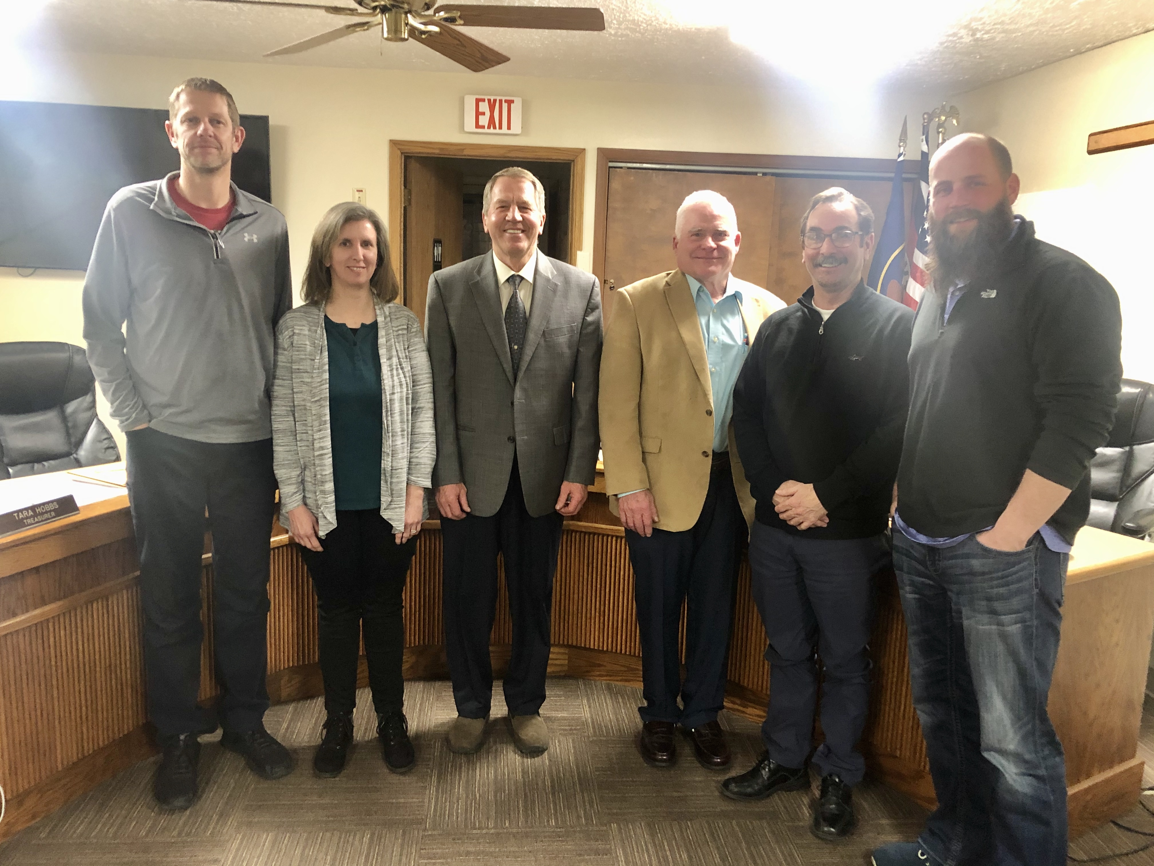 From left to right: Councilmember Zollinger, Councilmember June, Mayor Hair, Councilmember Callahan, Councilmember Wilker, Councilmember Grange